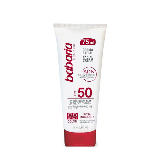 31800 BABARIA CREMA FACIAL SOLAR F50 COLOR BB ROSA MOSQ 75ML