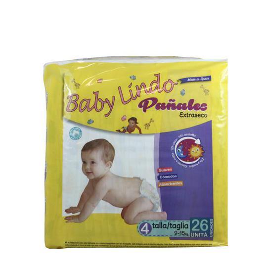 PAÑAL BABY LINDO T/4 26U 9/15 KG