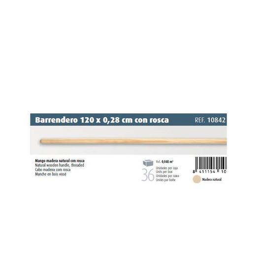 PALO MADERA 120 CM 28MM C/ROSCA  10842