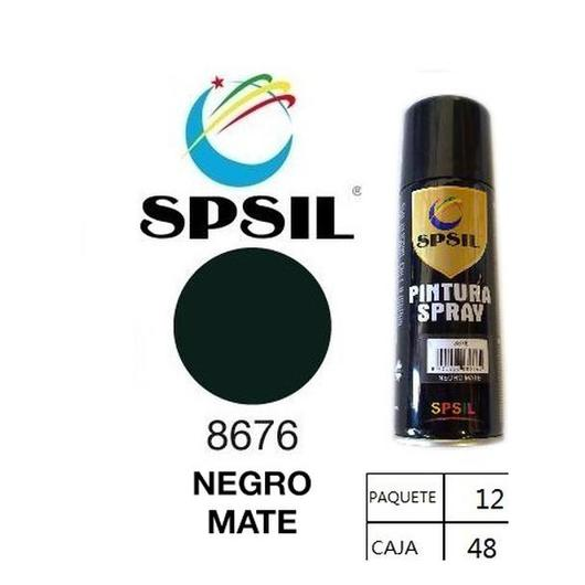 PINTURA SPRAY 200 ML SPSIL NEGRO MATE 8676