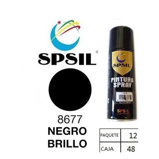 PINTURA SPRAY 200 ML SPSIL NEGRO BRILLO 8677