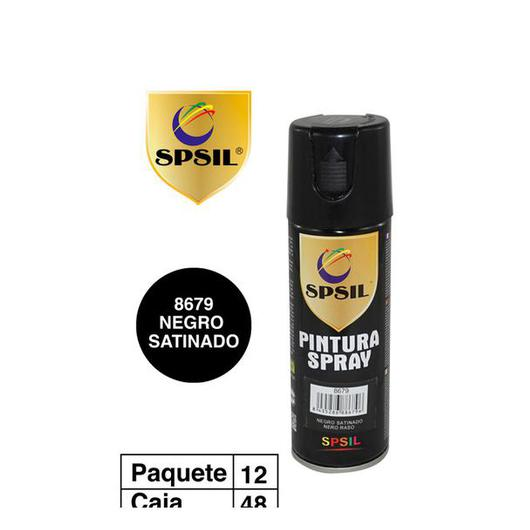 PINTURA SPRAY 200 ML SPSIL NEGRO SATINADO 8679