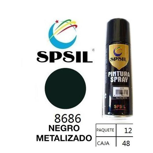 PINTURA SPRAY 200 ML SPSIL NEGRO METALIZADO 8686