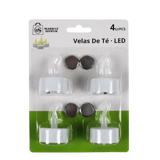 VELA DE TE LED 4 UDS PILAS INCLUIDAS 3,7X4,7CM 28819