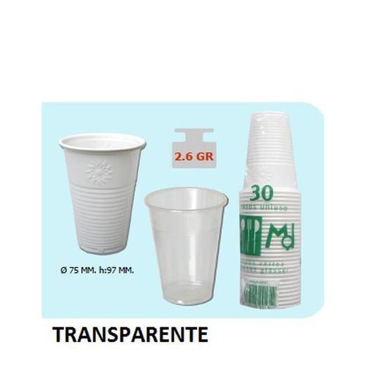 VASO PLASTICO 220 B/30 TRANSPARENTE 80126