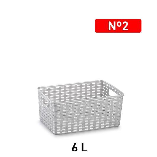 CESTA MIMBRE 29x19,5 6 LT PLATA 11827.12