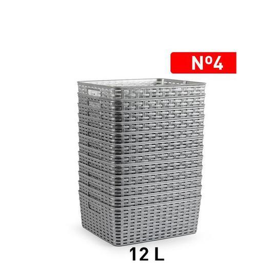 CESTA MIMBRE 36x28 CM 12LT PLATA 1226012
