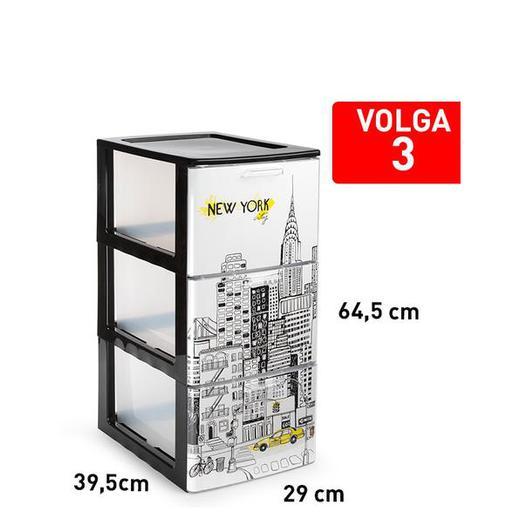 CAJONERA VOLGA 3 CAJON NEGRO DECO13 120014F